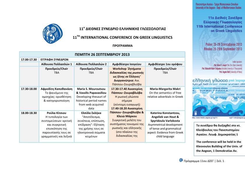 Πρόγραμμα - Παρουσιάσεις